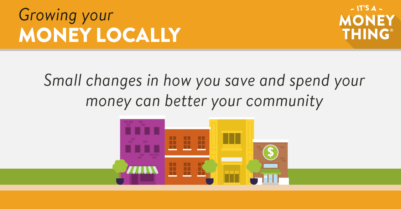 Infographic Recommending Local Businesses with Four Buildings of Different Sizes and Colors