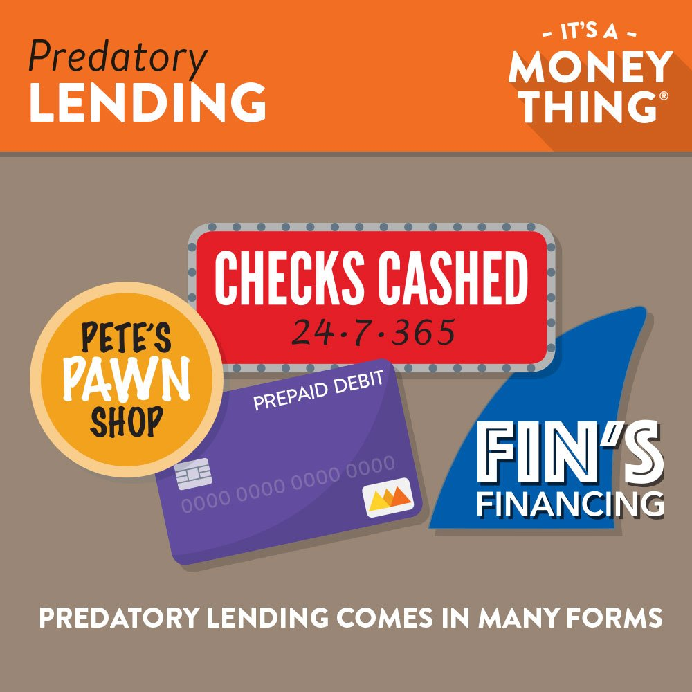 Infographic Examples of Predatory Lending, like Pawn Shops, Financiers and Checks Cashed