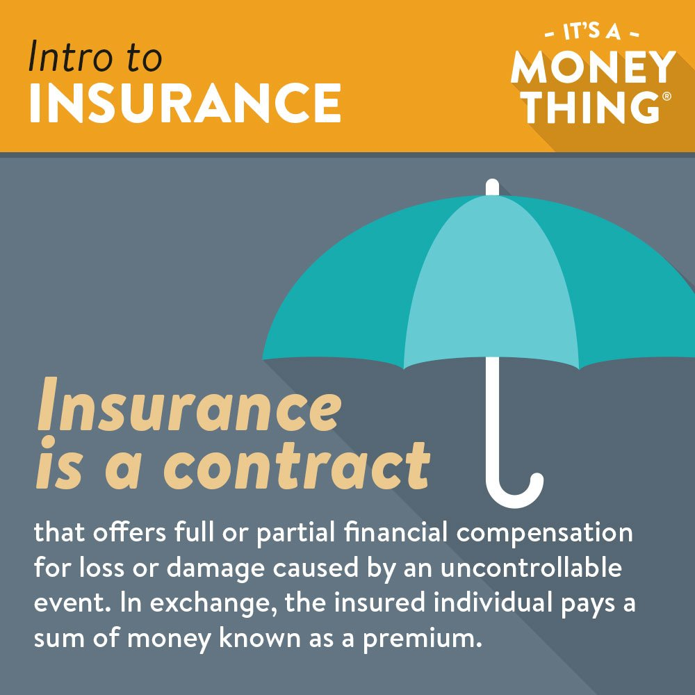 Infographic of Insurance Explanation and Definition with Umbrella Graphic