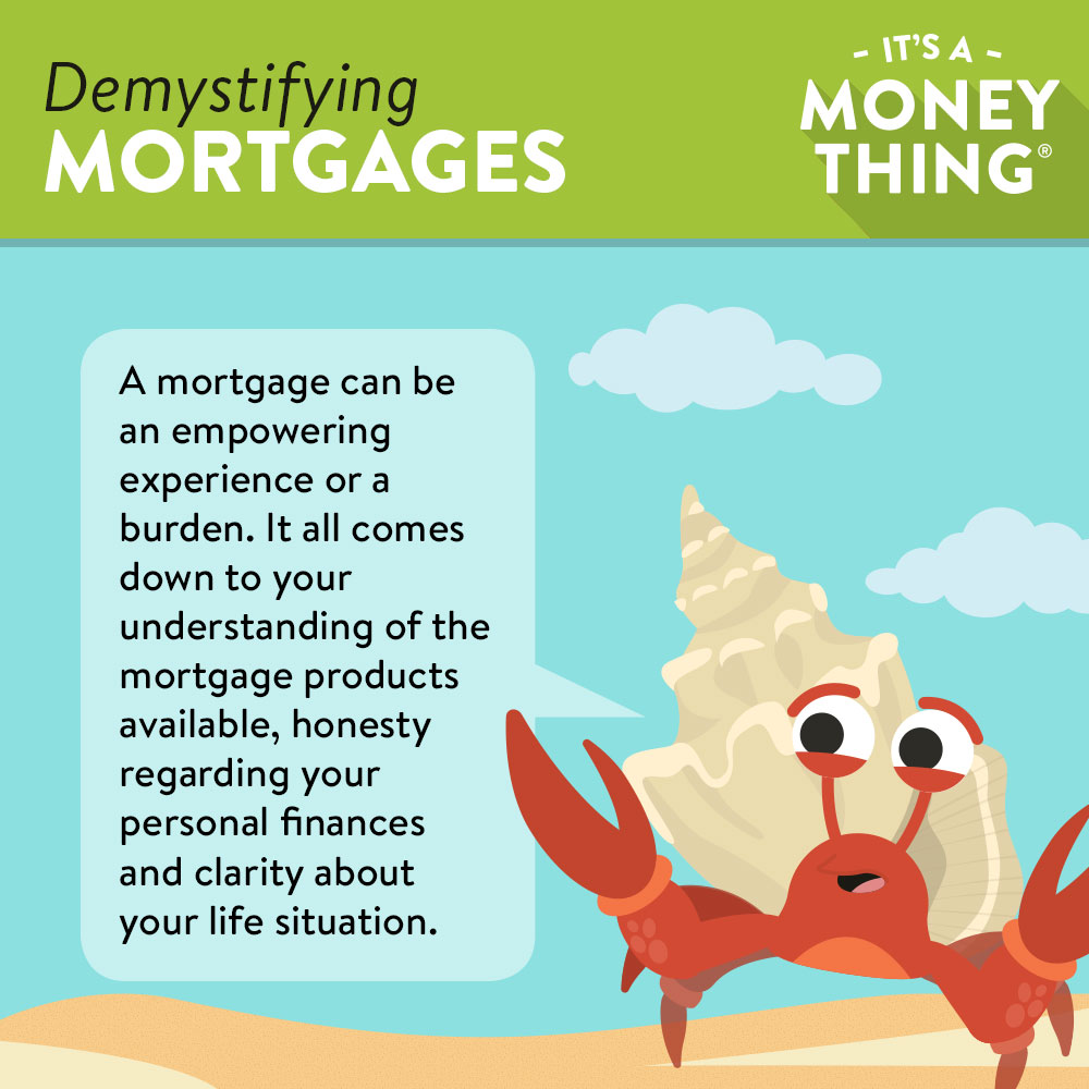 Infographic of a Cartoon Hermit Crab Warning About Mortgages Being a Costly Burden