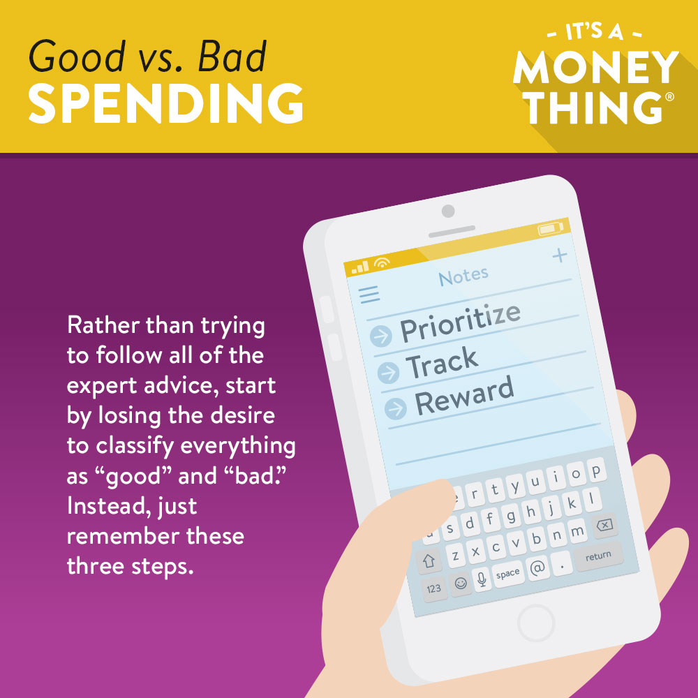 Infographic with Smartphone Displaying Prioritize, Track and Reward for Budgeting