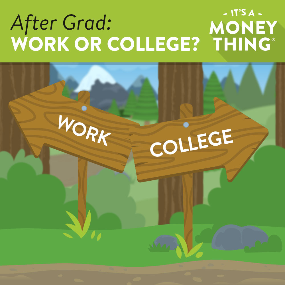 "Graphic of Wooden Arrows in a Forest Pointing to ""Work"" and ""College"""