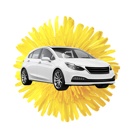 White Car atop a Yellow Flowered Background