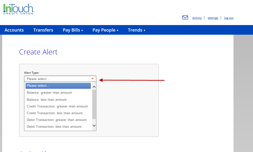 Screenshot of Alert Types Available to Create in Online Banking