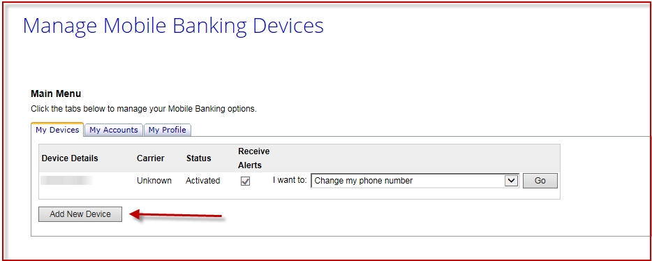 Screenshot of the Mobile Alerts Process in OLB and how to Manage Mobile Devices
