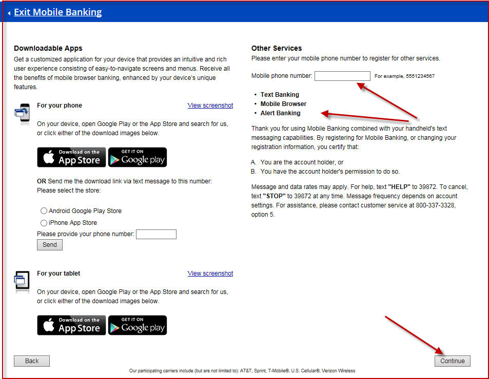 Screenshot of the Mobile Alerts Process in OLB: How to Download the App