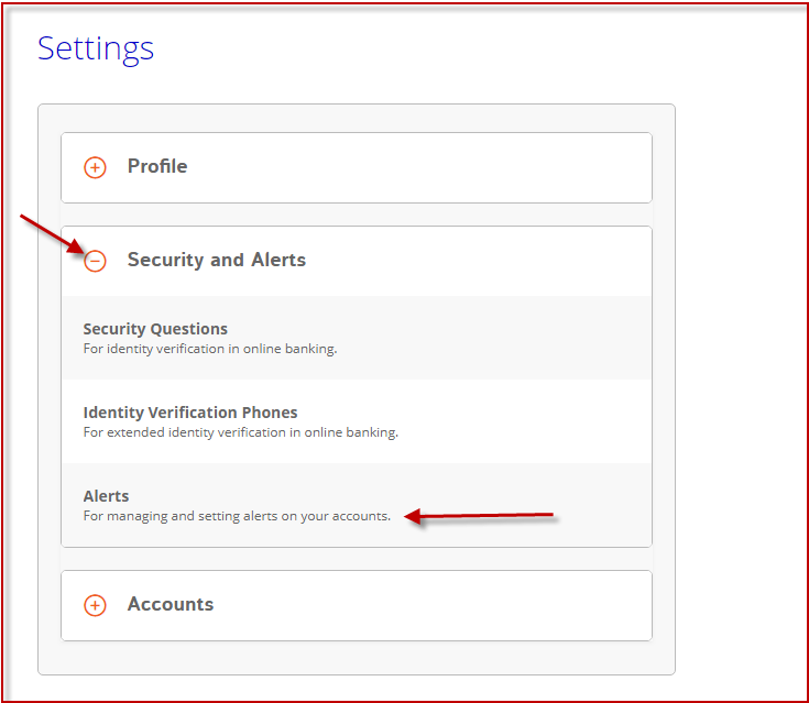 Screenshot of the Mobile Alerts Process in OLB: Secuirty and Alerts Section
