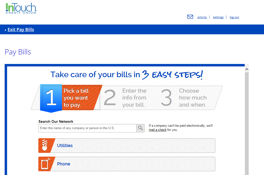 Screenshot of Pay Bills Steps 1, 2 and 3 Overview