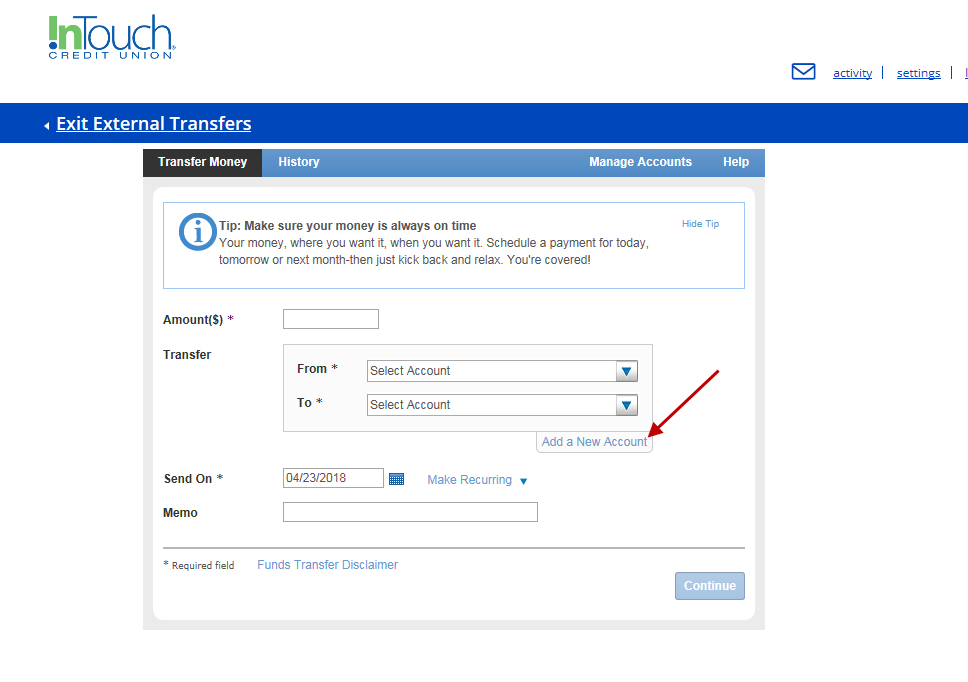 Screenshot of External Transfer Options within Online Banking