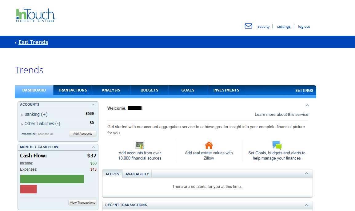 Screenshot of Trends Dashboard within Online Banking