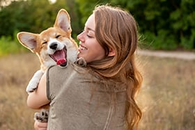 Woman Holding Yawning Corgi in a Field During the Day